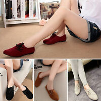 Womens Nubuck PU Ballet Flat Pumps Ladies Lace Up Loafers Casual Slip On Shoes