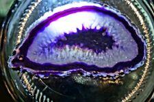 Purple druzy glass agate pendant, freeform, 70x39x6.3mm