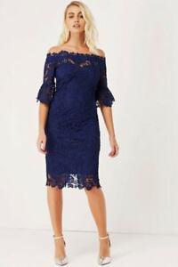 PAPER DOLLS Navy Crochet Bardot Dress UK 12 RRP £60 LN110 AC 17