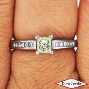 Estate 0.77ct Diamond 18K Gold Platinum Elegant Engagement Ring NR