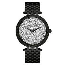 Caravelle 45L160 Lady's Rock Crystal Dial Black IP Crystal Watch