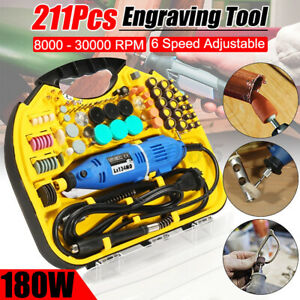 211Pcs Electric Die Grinder Rotary Engraver Sander Polisher Carving Drill Tool *