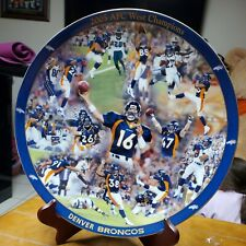 Danbury Mint 2005 Afc Champions Denver Broncos Porcelain Nfl Football Plate 24k