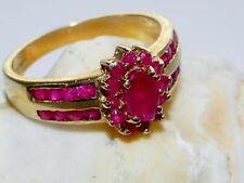 New 10K Yellow Gold Ruby Gemstone Tiered Inlaid Dahlia Ring Size 6.5 Italy 3.26g
