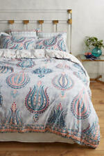 Anthropologie FORTUNA Queen Duvet Cover blue slub cotton NEW