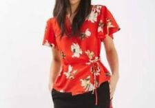 TOPSHOP Striking Red Floral Wrap Top w/ Peplum Hem & Short Fluted Sleeve Size 6