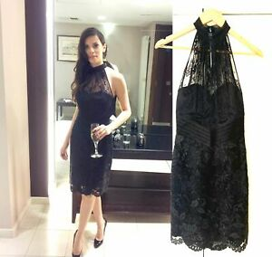 KAREN MILLEN COCKTAIL PARTY PENCIL DRESS BRITISH DESIGN SIZE 8 SMALL BLACK