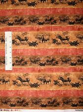 Country Rustic Fabric - North Woods Nature Moose Stripe Rust - Fabri-Quilt YARD