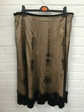 Ladies Kaliko Black Beige Gold Mesh Beaded Sequin Evening Skirt *UK 16* #R8-CF