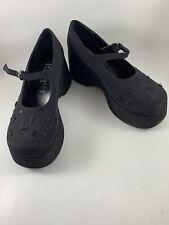 Vtg Beaded Rare Mudd Platforms Black Mary Jane Size 8 Medium Gothic Height 3�