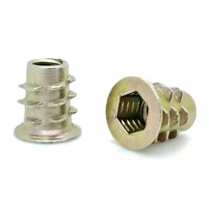 "100 Qty 1/4""-20 Zinc Hex Flanged Threaded Inserts For Wood 