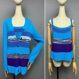 MISSONI Twin Set Top Cardigan Sweater Size 40 / 44 Women's Blue Striped Colorful