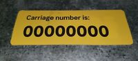 New Metro High Capacity Train Carriage Number Sticker 00000000 SEND OFFERS!