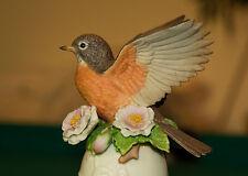 "Beautiful Vintage Lenox Fine Porcelain 5"" Little Robin Red Breast Bell 1992 Box"