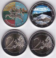 Twee gekleurde 2 euro munten 15e en 18e muntmanifestatie, Litouwen en Finland