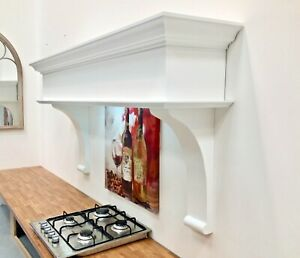 Cooker Hood 110cm Wessex design, White, Extractor Fan, Lights, Fluted Cornice