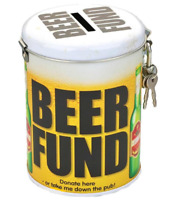 Beer Fund Novelty Fine Tin Money Storage Lockable Piggy bank Savings Jar Gift