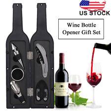 Pro Red Wine Bottle Opener Corkscrew Stopper Foil Cutter Pourer Drip Ring 5pcs