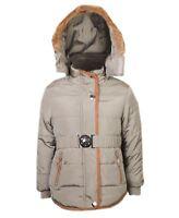 Girls Quilted Winter Coat Kids Detach Hood Padded Jacket Fur Lining Zip 3-14 Y