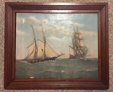 Distressed Interesting Framed Original Antique Nautical Oil On Canvas Painting
