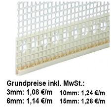 50 lfm Abschlussprofil PVC mit Gewebe 6mm Putz Putzkantenprofil Putzprofil