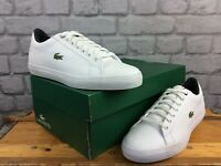 LACOSTE MENS UK 7 EU 40.5 WHITE GREY LEROND LEATHER TRAINERS LG