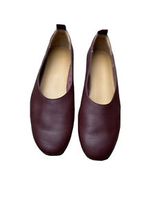 Everlane The Day Glove Leather Ballet Flat, Burgundy Leather, Womens Size 7