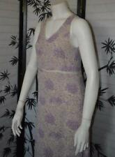 DKNY Summer sleeveless dress seethru panels floral lightweight rayon lavender 2