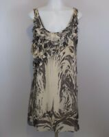 LC Lauren Conrad Women's Size 4 Shift Dress Beige Taupe Ruffle Sleeveless Lined