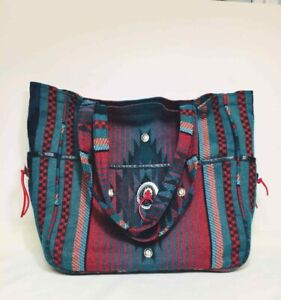 SOUTHWEST Pattern Wool TOTE BAG Silver Conchos TEAL DK RED BLK Duffle Boho