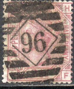 1875 Sg 139 2½d rosy mauve 'HF' Plate 2 with Duplex Cancellation Good Used