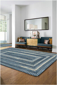 Capel Rugs Alliance Soft Chenille Polyester Braided Concentric Rug Chambray #445