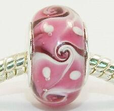 European Style Glass Bead -dark pink- Buy 15 get a FREE BRACELET !