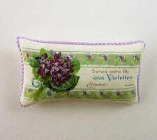 Dollhouse Miniature Artisan Savon Extra Fine Violets Label Pillow, 469