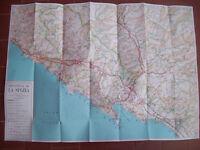 1960 CARTA GEOGRAFICA DUBLE FACE PROVINCIA DI LA SPEZIA E PROVINCIA DI GENOVA