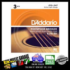 D'ADDARIO EJ15-3D PHOSPOR BRONZE EXTRA LIGHT 10-47 ACOUSTIC GUITAR STRINGS 3 PAC