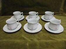 6 tasses à café porcelaine limoges Tharaud Marisque Sevres porcelain coffee cups