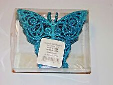 12 Turquois Glitter Butterfly Shatter Resistant Christmas Ornament Demonstration