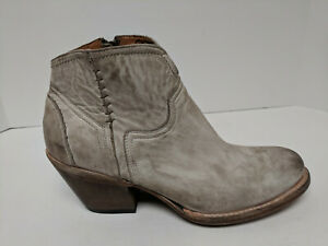 Lucchese Ericka Ankle Booties, White Distressed, Womens 8.5 M