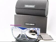 DOLCE & GABBANA DG 4231 299-36G Blue Flowers Silver Mirror Square Sung NWT AUTH