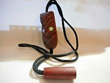 1960's BOLO Tie Carved Wooden Face w/Abalone Eyes Brown Cord w/Single Wooden Tip
