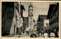 Mittenwald Bayern 1923 alte AK Partie a.d. Konditorei in der Hauptstraße Kirche