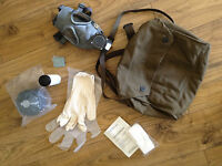 Finnish Army Gas Mask with Filter, Bag, Gloves, Wipes, Powder, +Instructions