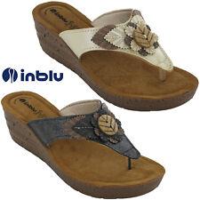 3f41897d0243 Summer Wedge Sandals Toe Post Inblu Leather Insock Flower Heeled Lightweight