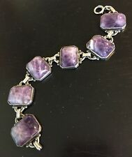 antique victorian banded amethyst agate stone sterling silver bracelet rare