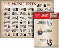 U.S. Presidents Wall Map, Poster 40in x 28in BRAND NEW  ship fast !