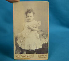 Sweet 1890s CDV Young Girl With Toy Doll Carte De Visite Gearing & Co London NR