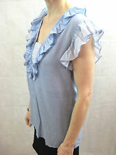 Paul & Joe Size 1 Light Blue Frill Cotton Silk Summer Blouse