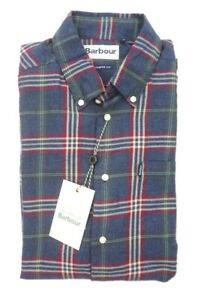 NEW BARBOUR DENIM BRUSHED BLUE RED STAPLETON HIGHLAND CHECK BUTTON DOWN SHIRT