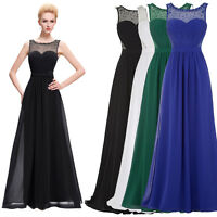 Long Chiffon Lace Evening Formal Party Ball Gown Prom Bridesmaid V NECK Dress